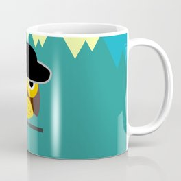 Clear night with a cute owl on a tree branch Coffee Mug