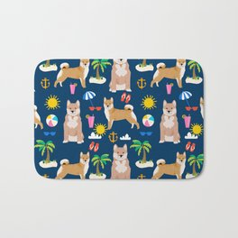 Shiba Inu summer beach vacation dog gifts pure breed pet portrait pattern Bath Mat