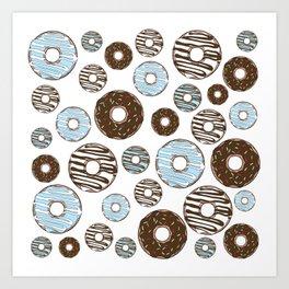 Pattern Of Donuts, Sprinkles, Icing - Blue Brown Art Print