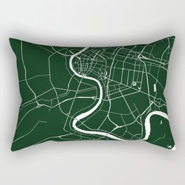 Bangkok Thailand Minimal Street Map - Forest Green and White Rectangular Pillow