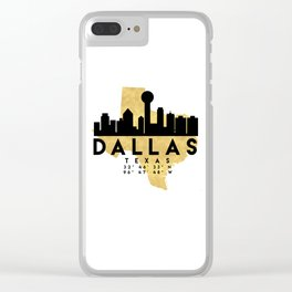 DALLAS TEXAS SILHOUETTE SKYLINE MAP ART Clear iPhone Case