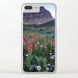 Mt. Timpanogos Wildflowers At Sunset Clear iPhone Case