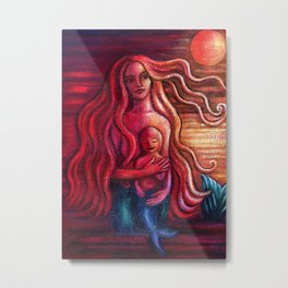 Mermother and Merboy Metal Print