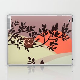 Quiet and peaceful night, cute owl snooze on the tree Laptop & iPad Skin
