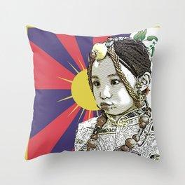 A little Tibetan girl Throw Pillow