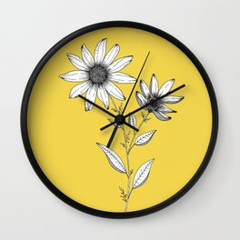 Wildflower line drawing | Botanical Art Wall Clock