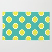 lemon Area & Throw Rugs featuring lemon by Panic Junkie