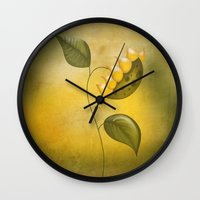 sunflower Wall Clocks featuring Sunflower by flamenco72