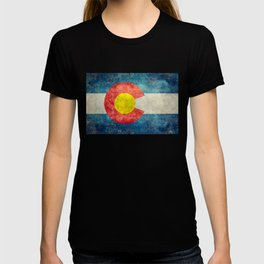 Colorado State Flag in Vintage Grunge T-shirt