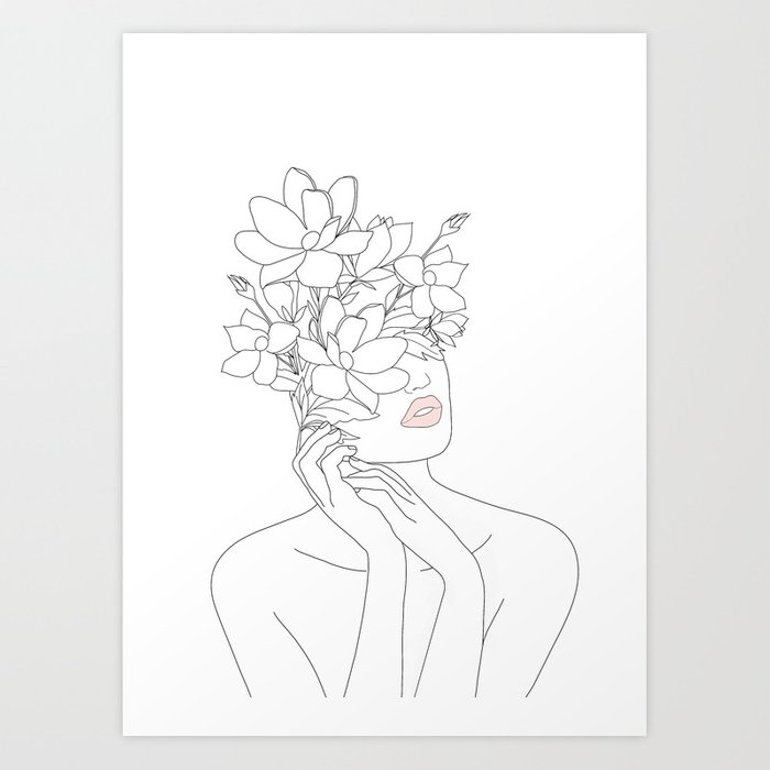 Minimal Line Art Woman with Magnolia Kunstdrucke