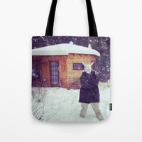 montana Tote Bags featuring Montana by Art Department Bunny