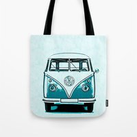 vw bus Tote Bags featuring VW Bus Blue by Edward M. Fielding