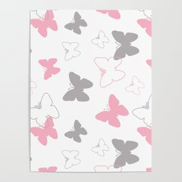 Pink Gray Butterfly Poster