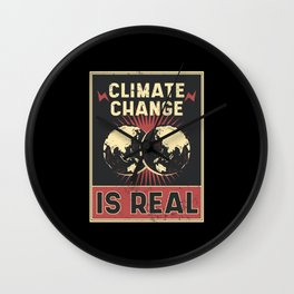 Climate Change Vintage Poster Wall Clock
