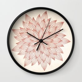 Mandala Flowery Rose Gold on Cream Wall Clock
