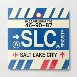 SLC Salt Lake City • Airport Code and Vintage Baggage Tag Design Metal Print