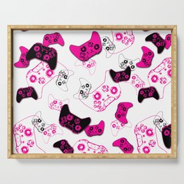 Video Game White & Pink Serving Tray