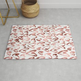 Rose Gold Love Hearts on Marble Rug