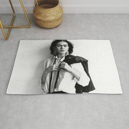 Frida Kahlo Wearing White Shirt Photo Art Poster Print Rug