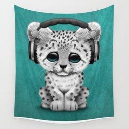 Cute Snow leopard Cub Dj Wearing Headphones on Blue Wall Tapestry