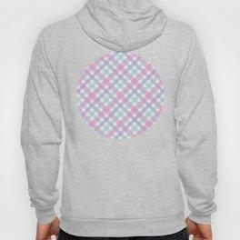 Blue, Aqua & Purple Plaid Pattern with Pink Background Hoody