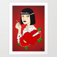 mia wallace Art Prints featuring Mia Wallace by Caio Lira
