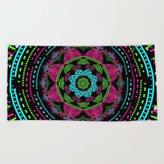 Mandala Energy in Neon Beach Towel