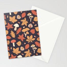 Autumn Pattern on Dark Blue Stationery Cards