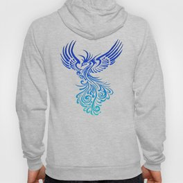 Rising From The Ashes Phoenix Blue Aqua Ombre Hoody