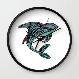 Abstract Killer Whale Tattoo Wall Clock