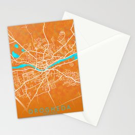 Drogheda, County Louth, Ireland, Gold, Blue, City, Map Stationery Cards