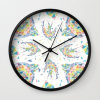 swallow Wall Clocks featuring Triangled Swallow  by XOOXOO