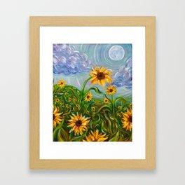 Sunflower Dancing in the Moonlight Framed Art Print