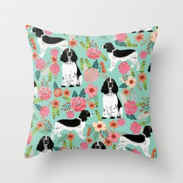 English Springer Spaniel dog breed florals dog gifts for dog lovers dog breeds Throw Pillow