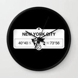 New York City Map GPS Coordinates Artwork with Compass Wall Clock