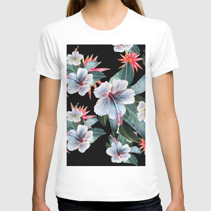 Tropical banana leaf, hibiscus vintage style, Hawaiian decor, retro T-shirt