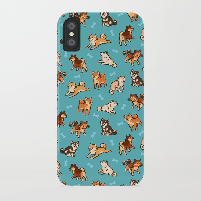 shibas in blue iphone case