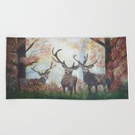Morning Deer Beach Towel