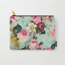 Vintage & Shabby Chic - Summer Teal Roses Flower Garden Carry-All Pouch