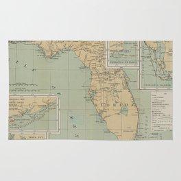Vintage Lighthouse Map of Florida (1898) Rug