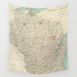 Vintage Map of Wisconsin (1886) Wall Tapestry