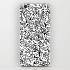 Lots of Bodies Doodle in Black and White iPhone & iPod Skin
