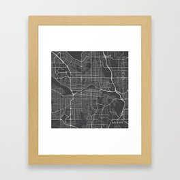 Calgary Map, Canada- Gray Framed Art Print