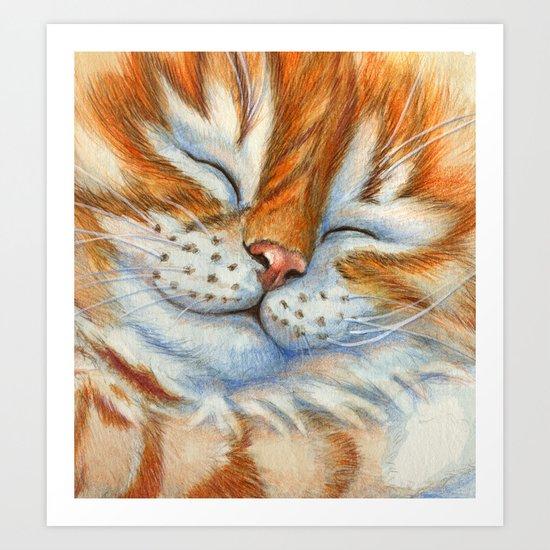 Sleeping Ginger Kitten A092 Art Print