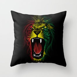 Rasta Roar Throw Pillow