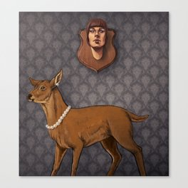 Deer and the Human Mount Canvas Print
