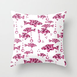 Raspberry pink fish. Throw Pillow