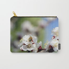 Bee Visiting an Apricot Blossom 2 Carry-All Pouch