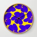 Blue Retro Flowers Yellow Background #society6 #decor #buyart by pivivikstrm