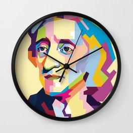 John Locke in Pop Art Portrait Wall Clock